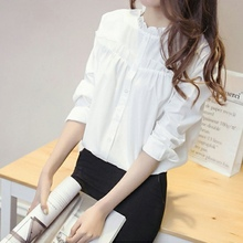 Women Elegant Long-sleeved Blouses Ladies Office Shirt Slim Basic Tops Transparent Cotton Blusas