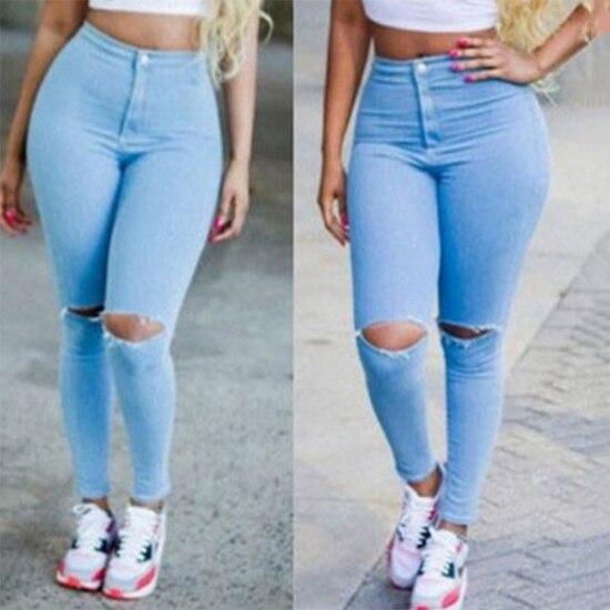 6dd36b2f80311 Pantalones Stretch Casual caliente cintura alta Mujer Skinny roto  pantalones Jeans lápiz en Pantalones vaqueros de La ropa de las mujeres en  AliExpress.com ...