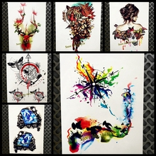 Watercolour Compass Temporary Tattoo Sticker Women Men Body Art Arm Tatoo Butterfly Water Color 21x15CM Henna Fake Flash Tattoo