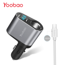 Yoobao 209 Car Charger 2.4A Dual USB Charger with LED Display Mobile Phone Car-Charger Travel Charger for iPhone Samsung Redmi(China)