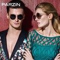 Parzin Óculos De Sol Das Mulheres Caixa Redonda de Metal óculos Polarizados Óculos De Sol Dos Homens Do Vintage Retro Colorido Óculos Para Dirigir Com a Caixa Preta 8093