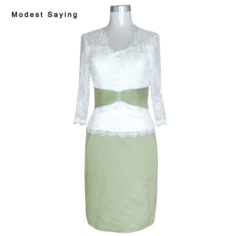 Élégante ivoire et vert Olive gaine perlée dentelle à manches longues mère de la mariée robes 2017 genou longueur fête robes de bal YM1