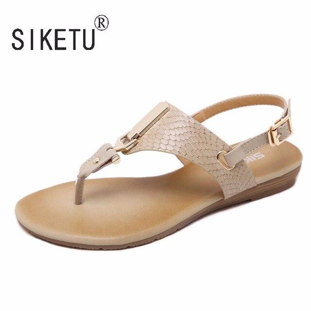 248657959 2017 Nova Coreano Confortável Decoração do Metal Fivela Mulheres Cinta  Sandálias Flat Clipe Toe Sapatos Sandálias