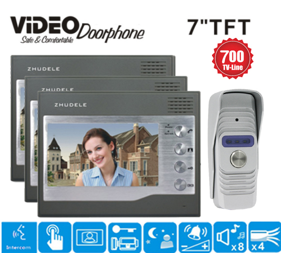 ZHUDELE Famous brand top quality 7 Video Intercom Video Door Phone Doorbell System 700TVL Camera Night Vision in stock 1v3
