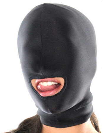 Fetish Fantasy Lightweight Spandex Open Mouth Hood Mask Muzzles Head Harness Sex Slave Role Play Muzzles