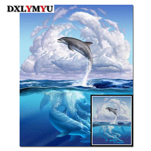 DIY Square Diamonds Embroidery 5D Diamond Mosaic Blue Dolphins Picture Full Painting Cross Stitch Kits Home Decoration