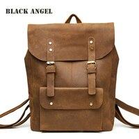 Черный Ангел воловья кожа мужской рюкзак досуг многофункциональная сумка дорожные рюкзаки из натуральной кожи рюкзак