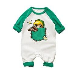 الوليد الطفل فتاة السروال القصير الكرتون الطباعة طويلة الأكمام بذلة رومبير الرضع للجنسين الصبي الجسم الملابس