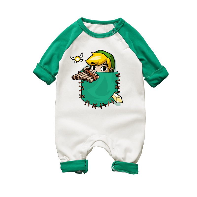 Nyfödda Baby Girl Rompers Legenden om Zelda Cartoon Printing Långärmad Jumpsuit Romper Spädbarn Unisex Boy Body Clothing