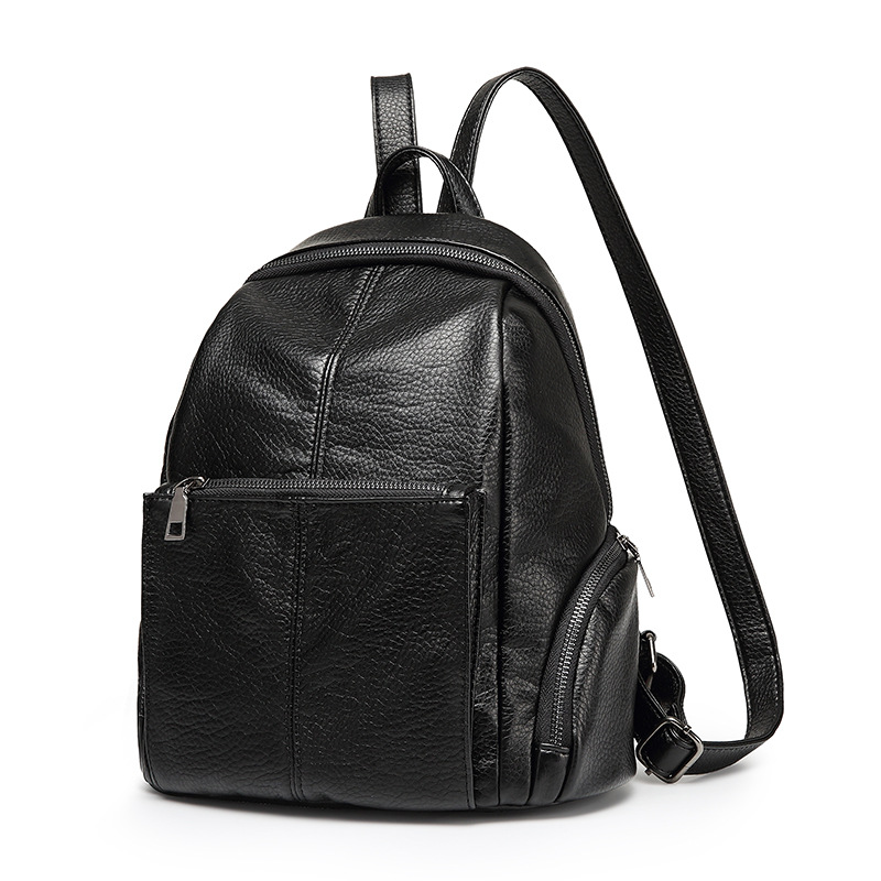 2017 New Designer Brand Fashion Black Women Genuine Leather Backpack ladies shoulder bags Lady Genuine Leather