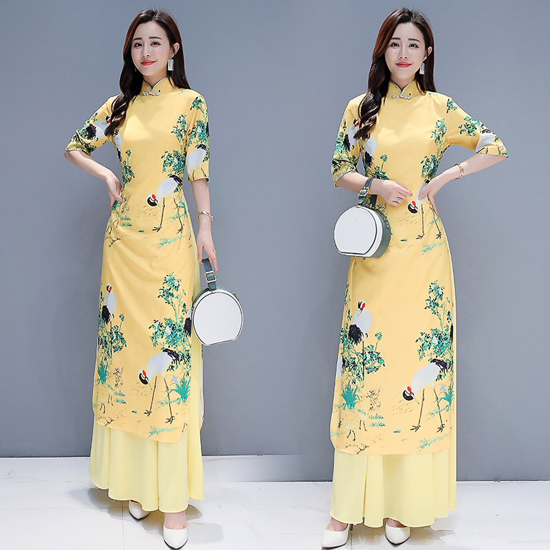 Asian Long Qiapo Maxi Dress Chinese Style Yellow Ao Dai For Women