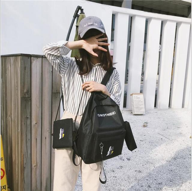 Bags for women 2018 three-piece female backpack Korean college wind canvas backpack travel bag student bag Fashion Backpacks
