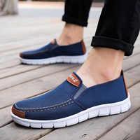671da81af83b Холстовая Мужская обувь без застежки; модная мужская повседневная обувь из  вулканизированной кожи; 2019 г