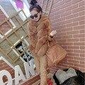 Новый роскошный Большой размер искусственного меха с длинным рукавом зимняя вершины для женщин дамы 4 цвет Colete де пеле зимнее пальто женщин