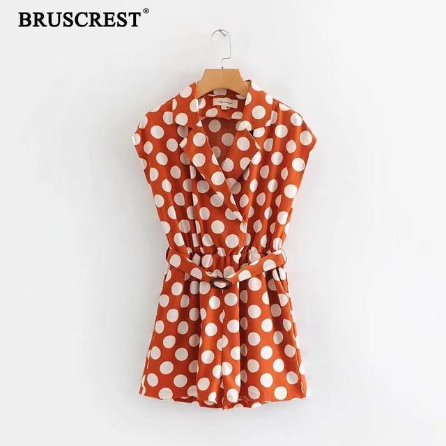 la mejor calidad para grandes ofertas en moda muy agradable 2019 Boho lunares marrón mono mujeres Sexy cuello en v Mujer prendas  elegante fajas mujer casual coreano streetwear