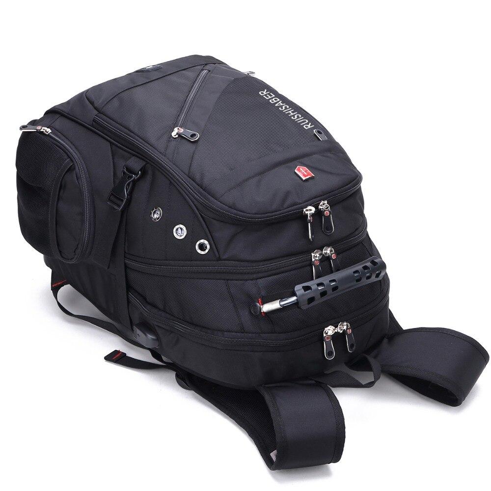 Image 5 - New Swiss Laptop Backpacks men External USB charge port for 17 Inch Waterproof Travel backpack Female Vintage School Bag mochila-in Backpacks from Luggage & Bags