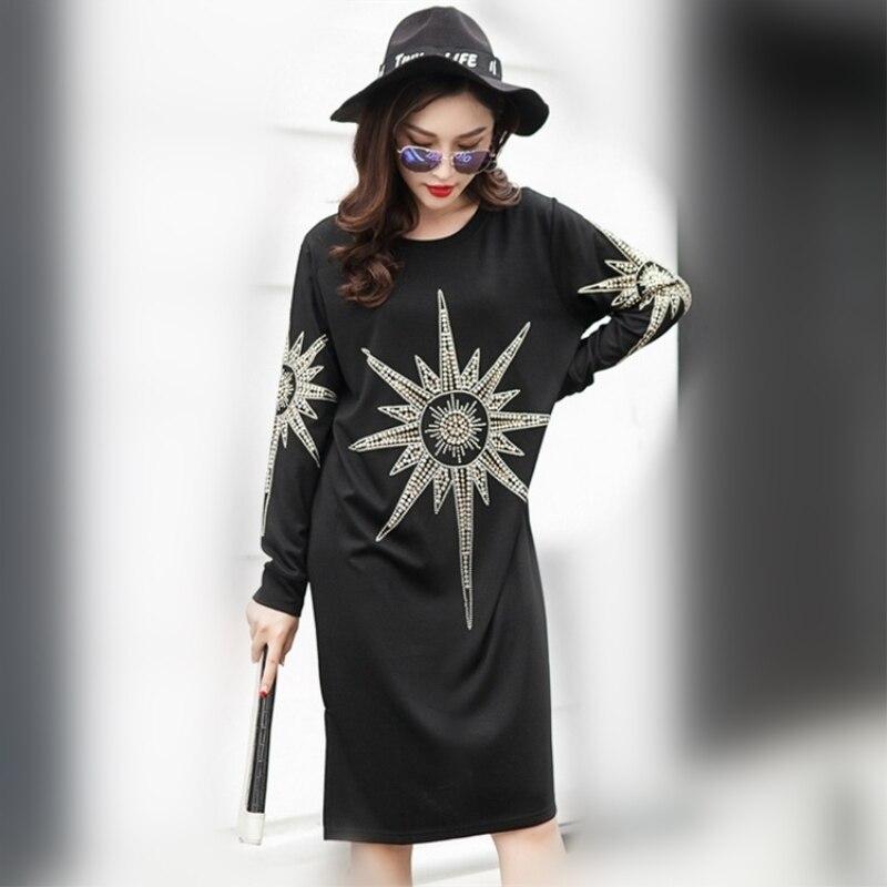 639d0798cb 2016 otoño nueva moda marea manga larga cuello redondo vestido negro hasta  la rodilla moda mujer dulce