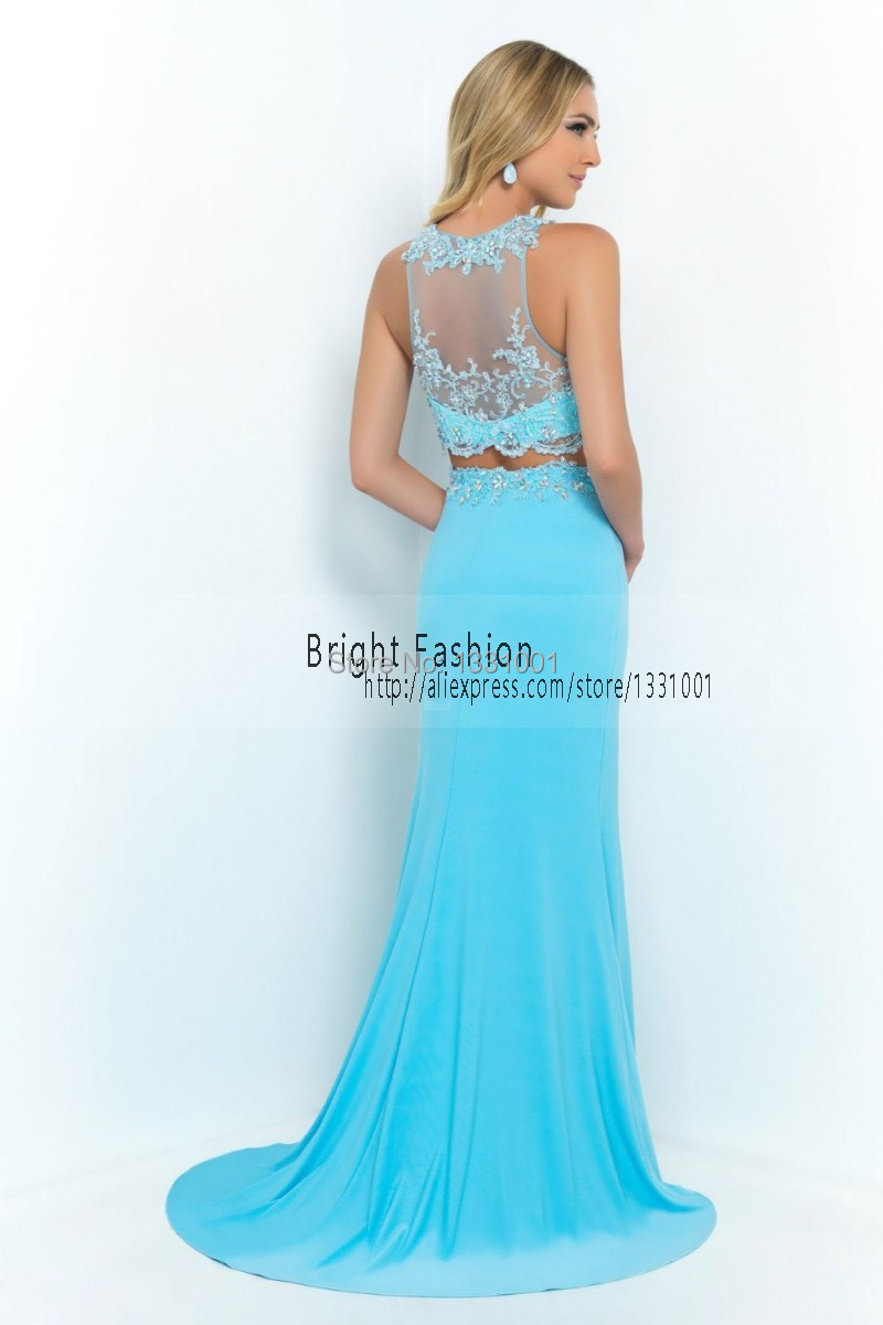 2016 Sexy Side Slit Prom Dresses 2 Piece Prom Dress See Through High ...