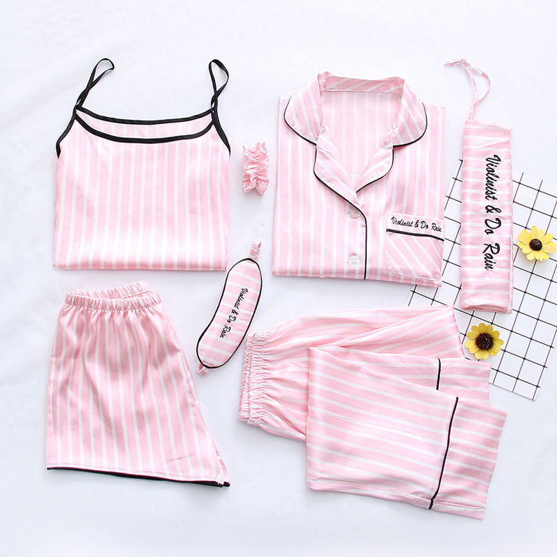 Women   Pajamas     Set   7 Piece/  Set   Long Pants Shirt Cool Rayon Silk Satin Stitch Sexy Striped Female Pjs 2019 Summer Top Sleepwear