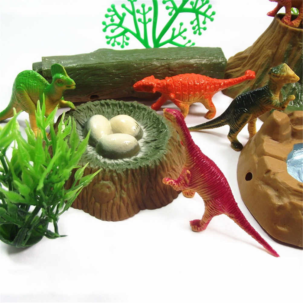 Action Figures Kids Boy Gift Jurassic World Park Tyrannosaurus Rex Dinosaur Forest Scenery Model Set Plastic Play Toys