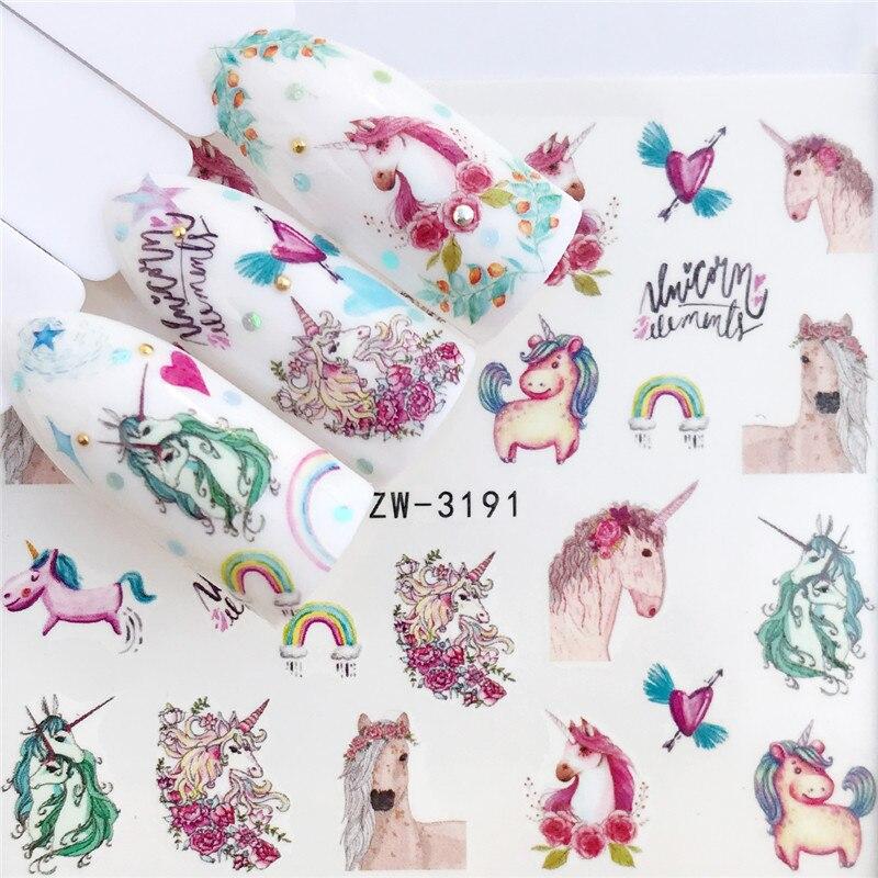 WUF наклейки на ногти лошадь цветок наклейки для ногтей Лаванда ногтей переводные наклейки