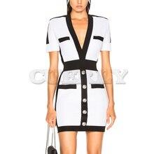 Cuerly New Women Bandage Dress Fashion Short Sleeve White Bodycon Celebrity Party Dresses 2019 Sexy Club Summer Vestidos