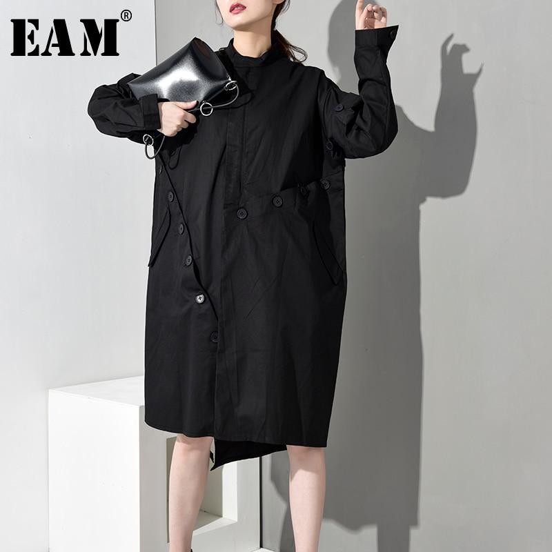 [EAM] Women Hooded Flower Print Trench New Long Sleeve Black Big Size Loose Fit Windbreaker Fashion Autumn Winter 2019 JY732