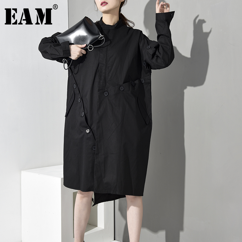 [EAM] 2019 New Spring Summer Stand Collar Long Sleeve Button Stitch Loose Long Big Size Windbreaker Women   Trench   Fashion JO0160