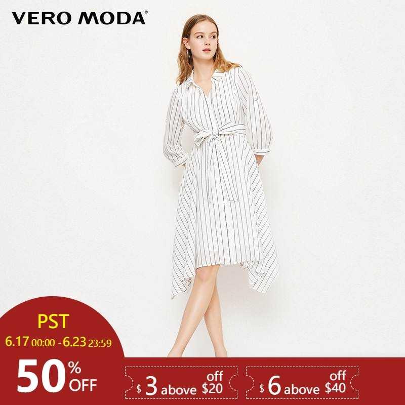 Vero Moda 2019 Весна новое обратимое 3/4 рукава Полосатое платье-рубашка | 31827C540