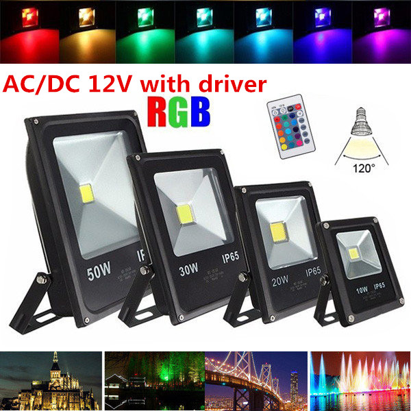 AC12V/DC12V 10W 20W 30W 50W RGB led flood light LED luminaire projector outdoor lamp RGB cool cold Warm white
