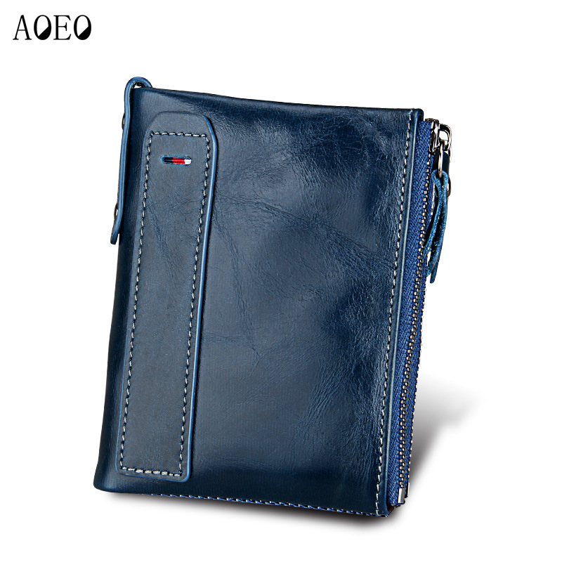 AOEO Genuine Crazy Horse Cowhide Leather Men Wallet Short Coin Bag Small Vintage Wallets Male High Quality Designer Purses Money gubintu genuine crazy horse leather men wallet short coin purse small vintage wallets brand high quality designer carteira