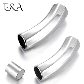 Stainless Steel Magnetic Clasp Curved Screwy Tube Hole 8mm Leather Cord Magnet Buckle Jewelry Making DIY Bracelet Supplies