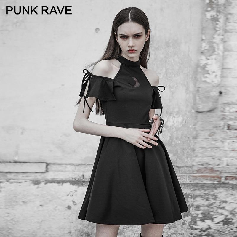 PUNK RAVE foncé mode femmes astrologie série sans bretelles noir tricoté robe lunaire éclipse conception un pendule petite robe noire