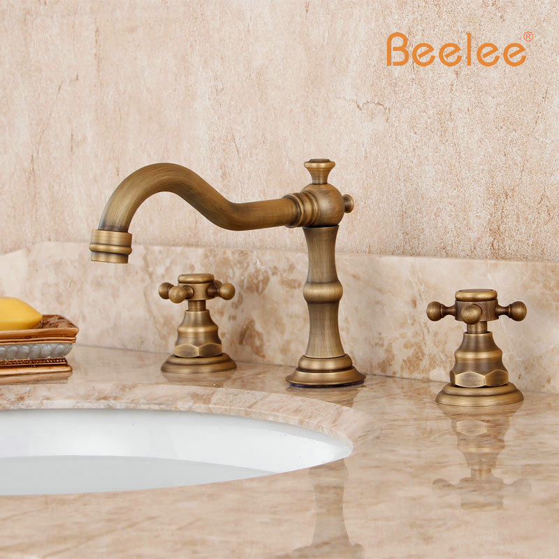 Beelee BL3006A-3 Dual Handle Antique Faucet Copper Hot And Cold Fashion Bathroom Cabinet Basin Rotating Faucets