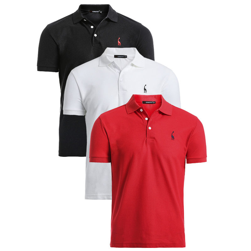 3 Pcs Set Brand Fashion Mens Polo Solid Slim Fit Short Sleeve Polos High Quality Cotton Polo Shirt Men Streetwear