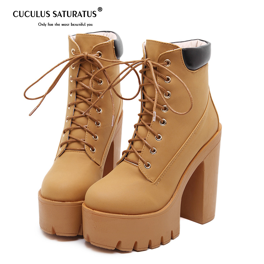 Cuculus Fashion Spring Autumn Platform Ankle Boots Women Lace Up Thick Heel Martin Boots Ladies Worker Boots Black Size 35-40 mcckle women s lace up rivets buckle ankle martin boots ladies fashion thick heel platform high quality leather autumn shoes