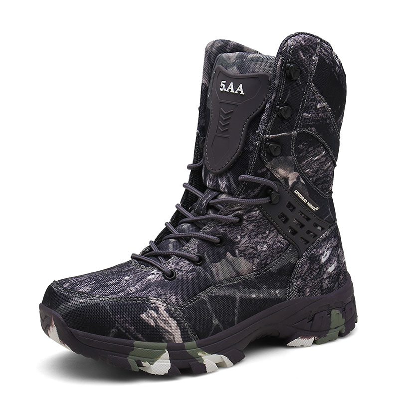 New Leather Camo Military Boots Men Special Force Tactical Botas Outdoor Desert Combat Shoes Waterproof Man