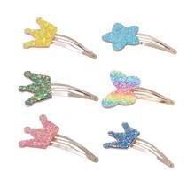6 PCS/lot little Girls hair clips Glitter Rainbow butterfly Star Crown Princess Hairpins hair Accessories Kids Baby Hair Clips