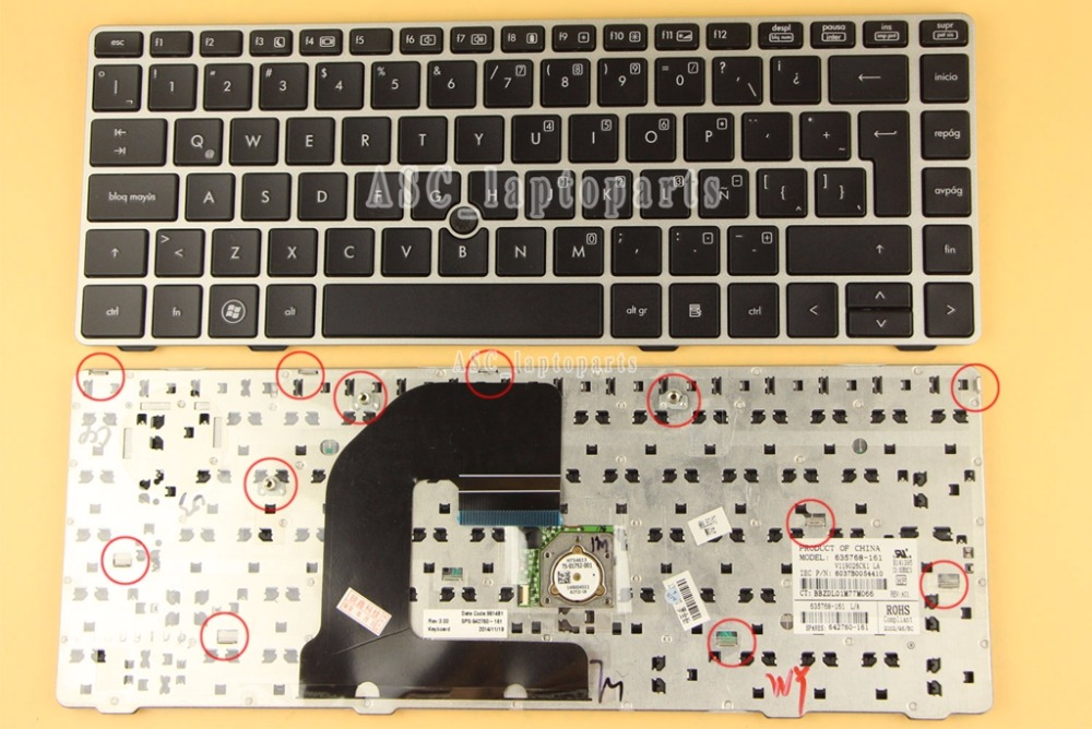Laptop Keyboard Compatible for HP EliteBook 8470p 8470w ProBook 6470b 6475b US Layout Black Color No Frame with pointstick