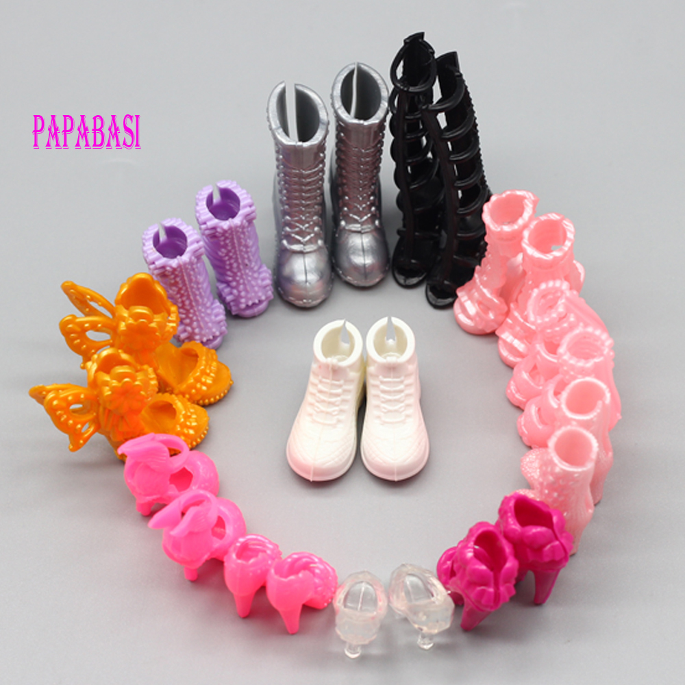 10pairs/lot Mix Style Mix Color Fashion Heels Sandals Doll Shoes For Barbie Dolls Outfit Dress Lots, Xmas Gift For Girl Toy