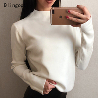 Qlingopt Women Sweaters And Pullovers 2018 Autumn Winter Black Long Sleeve Sweater Jumpers Turtleneck Knitted Sweater