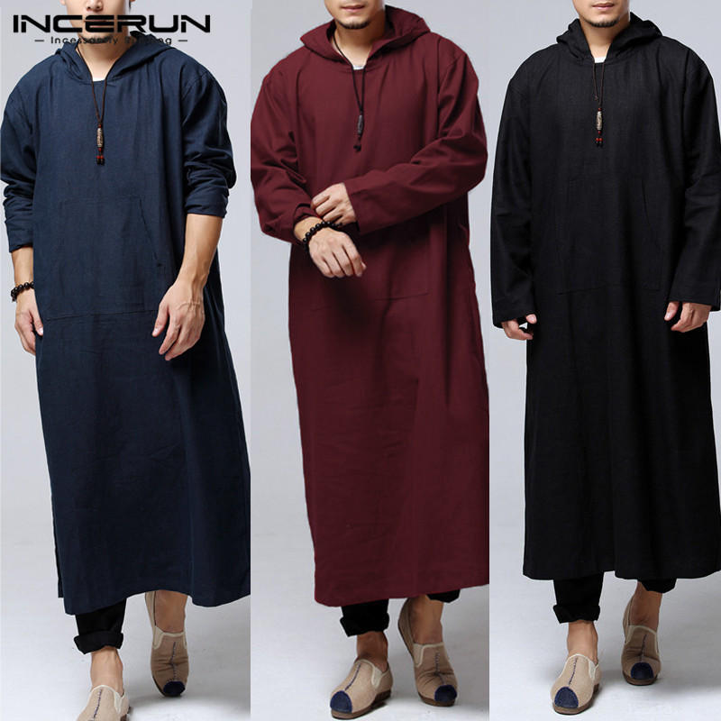 Alion Mens Long Sleeve Dress Kaftan Ethnic Robes Vintage Loose Solid Kaftan Dress