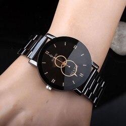 Novo design relógios femininos moda preto redondo dial banda de aço inoxidável relógio de pulso de quartzo presentes dos homens relogios feminino