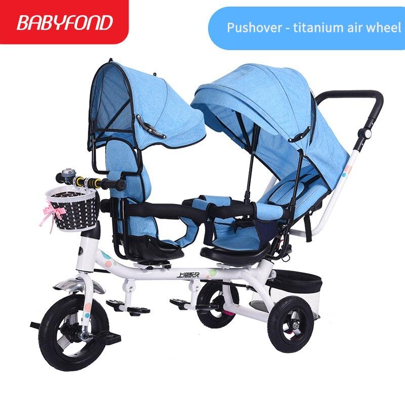 Tricycles pour enfants jumeaux poussette 1-3 ans bébé poussette enfant vélo accoudoir réglable bébé main gonflable chariots marque