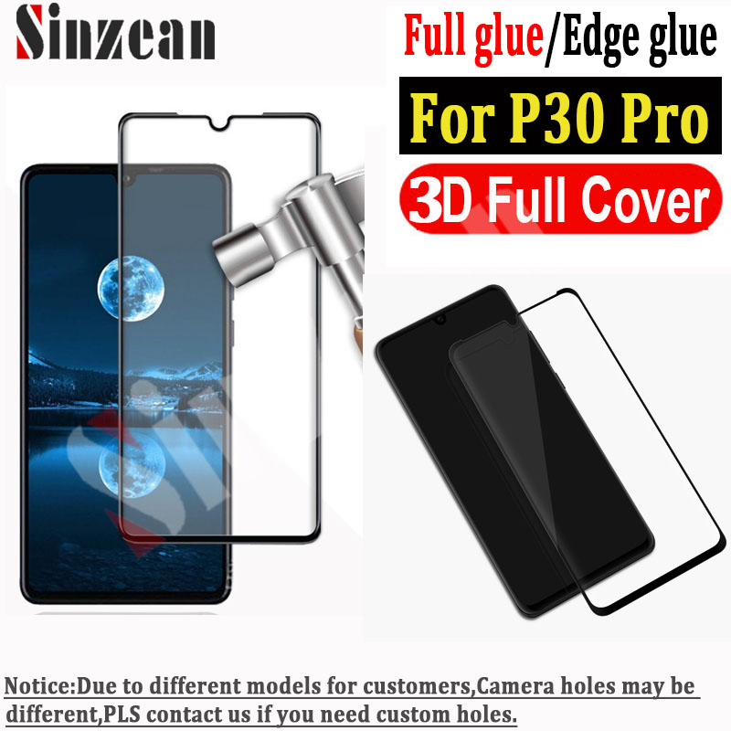 Sinzean 100pcs 3D Curved Full Covered Tempered Glass screen protector For Huawei P30 Pro edge glue