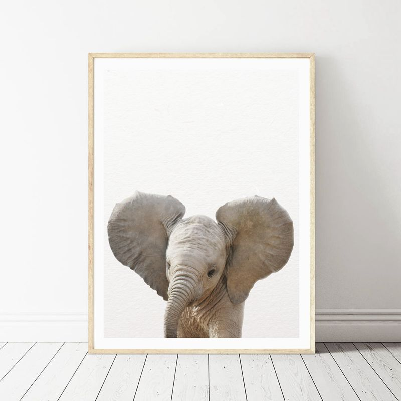 Lion Zebra Elephant Giraffe Baby Animals Art Print Poster, Safari Animals Picture Canvas Painting Kids Room Nursery Wall Decor