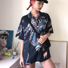 Cheerart Harajuku Blouse Women Dragon Print Short Sleeve Shirt Summer Tops And Blouses Femme Streetwear Japanese