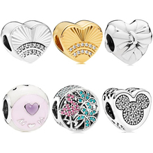 dodocharms 925 Silver Mickey LOVE MOM Crystal Bead Fit Original Pandora Bracelet Women Charm DIY Jewelry