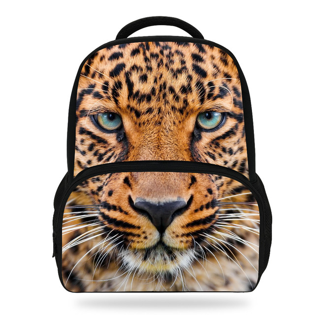 14inch Cool Girls School Bag For Boys Leopard Backpack For Children Zoo  Animal Schoolbag Kids Teenager