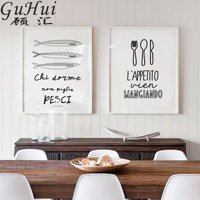 סקנדינבי שחור לבן מכתב איטלקי מסעדת בד ציור קיר תמונה סלנג סלון דקור מטבח פוסטר דגי מזלג